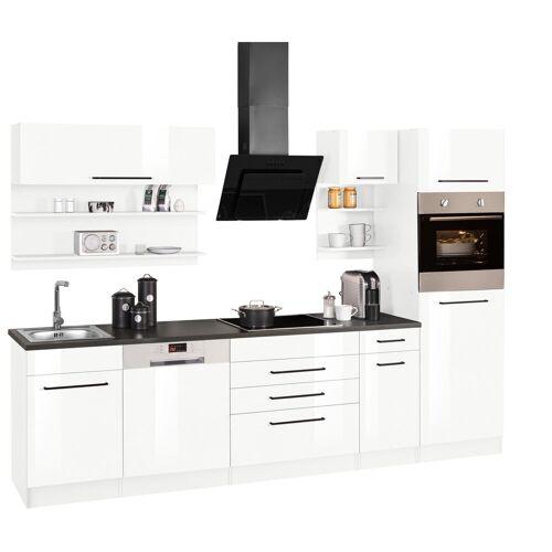 HELD MÖBEL Küchenzeile »Tulsa«, ohne E-Geräte, Breite 290 cm, schwarze Metallgriffe, hochwertige MDF Fronten, weiß Hochglanz