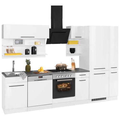 HELD MÖBEL Küchenzeile »Tulsa«, ohne E-Geräte, Breite 300 cm, schwarze Metallgriffe, hochwertige MDF Fronten, weiß Hochglanz