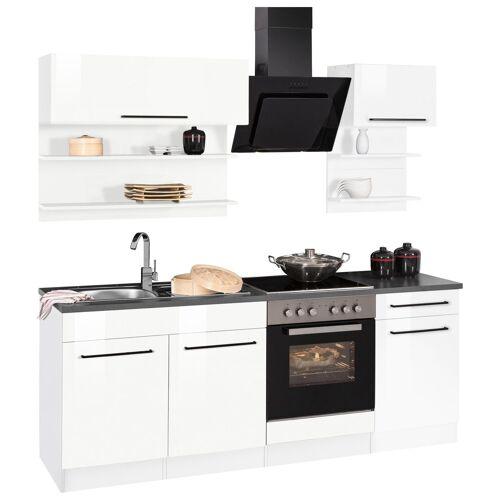 HELD MÖBEL Küchenzeile »Tulsa«, ohne E-Geräte, Breite 210 cm, schwarze Metallgriffe, hochwertige MDF Fronten, weiß Hochglanz