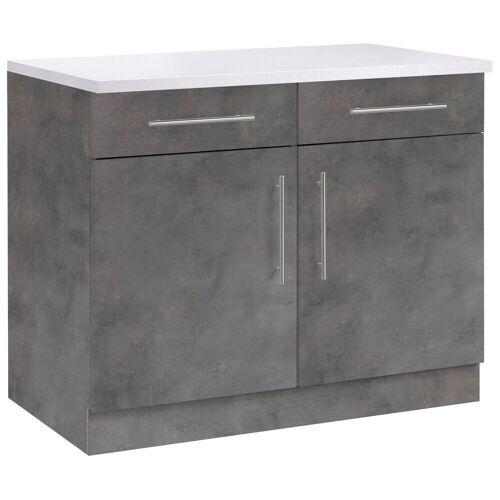 wiho Küchen Unterschrank »Cali« 100 cm breit, Betonfarben/Betonfarben