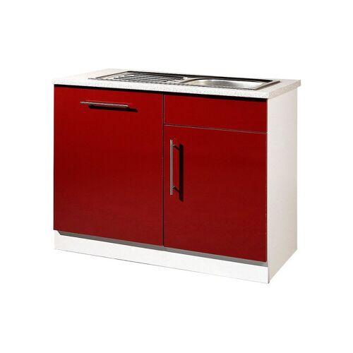 wiho Küchen Spülenschrank »Aachen«, rot Glanz
