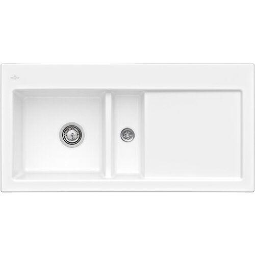 Villeroy & Boch Küchenspüle »Subway 60«, rechteckig, aus Keramik, inkl. Ablaufgarnitur mit Handbetätigung, 1000 x 510 mm, weiß