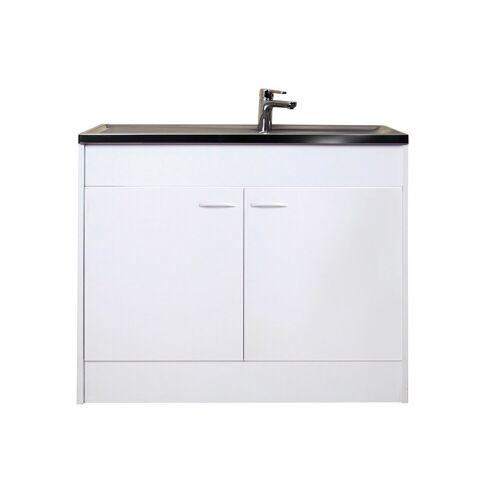 Spülenschrank mit 2 Türen, B/T/H: 100/50/85 cm, weiß