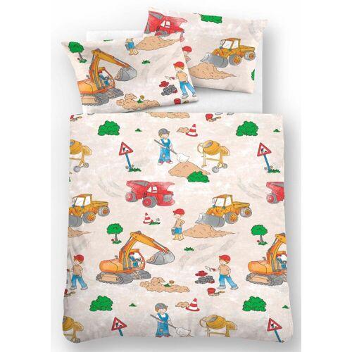 Biberna Kinderbettwäsche »Bauarbeiter«, , mit Baggern