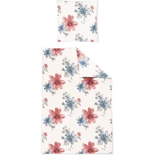 Irisette Bettwäsche »Mediterran«, , im Blumendesign, blau-rot