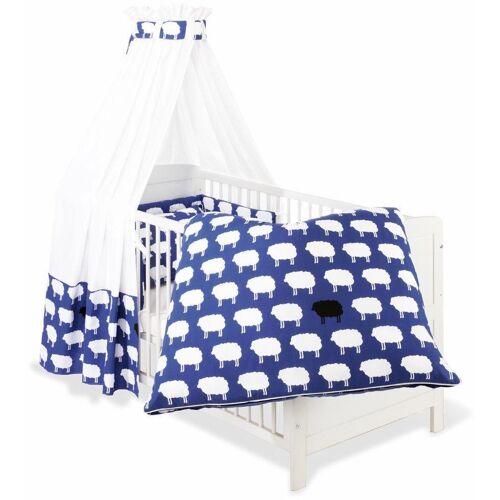 Pinolino® Himmelbettgarnitur »Happy Sheep, blau«, , Kinderbetten, Set: Bettwäsche, Betthimmel, Nestchen