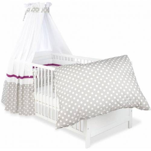 Pinolino® Himmelbettgarnitur »Punkte, grau«, , Kinderbetten, Set: Bettwäsche, Betthimmel, Nestchen