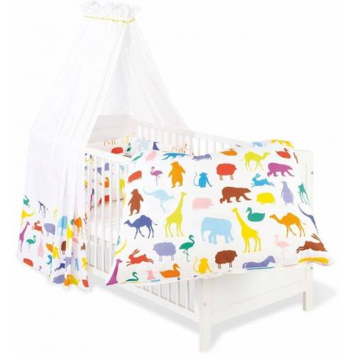 Pinolino® Himmelbettgarnitur »Happy Zoo«, , Kinderbetten, Set: Bettwäsche, Betthimmel, Nestchen