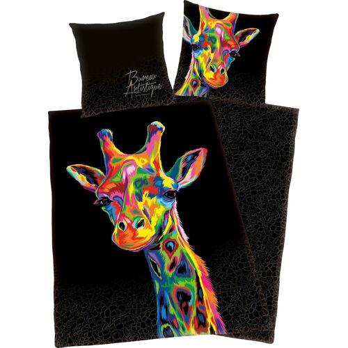 Wendebettwäsche »Giraffe«, mit buntem Giraffenkopf