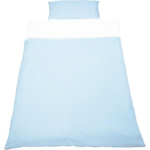 Pinolino® Babybettwäsche »Vichy-Karo«, , mit Zackenlitze abgesetzt, blau