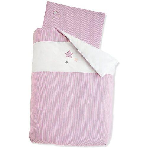Sterntaler® Bettwäsche »Bettwäsche grau, 100 x 135 cm«, , rosa/weiß