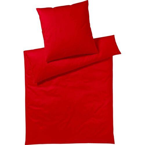 Yes for Bed Bettwäsche »Pure & Simple Uni«, , aus hochwertigem Mako-Satin, rot