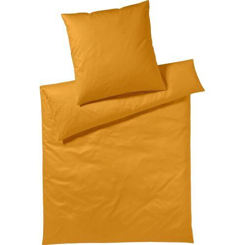 Yes for Bed Bettwäsche »Pure & Simple Uni«, , aus hochwertigem Mako-Satin, goldfarben