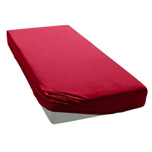 Elegante Spannbettlaken »Uni Zwirn-Jersey«, , aus hochwertigem Garn, rubin