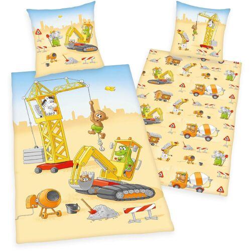 """Herding Young Collection Kinderbettwäsche »""""Baustelle""""«, , mit Tieren auf der Baustelle"""