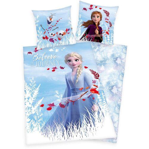 Disney Walt Disney Kinderbettwäsche »Disney´s Eiskönigin 2«, , mit Elsa, Anna und Olaf
