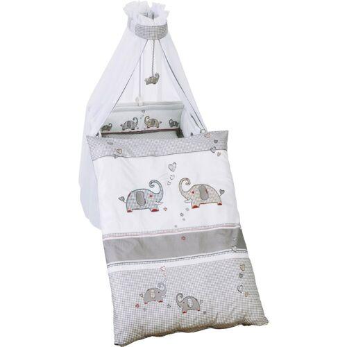 Roba® Himmelbettgarnitur »Jumbo twins grau«, , Kinderbetten, (4 St), mit Bettwäsche, Nestchen und Himmel