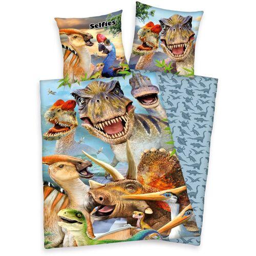 Kinderbettwäsche »Selfies Dinosaurier«, mit tollem Dinosaurier-Motiv