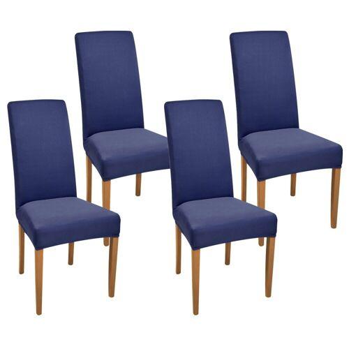 Beautissu Stuhlhusse »Mia«, , Stretch 35-50cm 4er Set, Blau