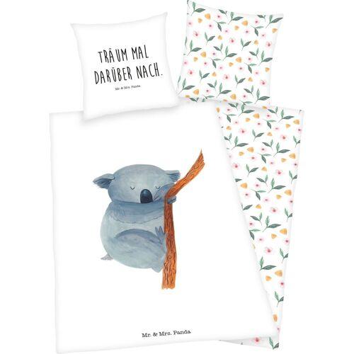 Wendebettwäsche »Mr. & Mrs. Panda«, mit Pandabär und Schriftzug, weiß