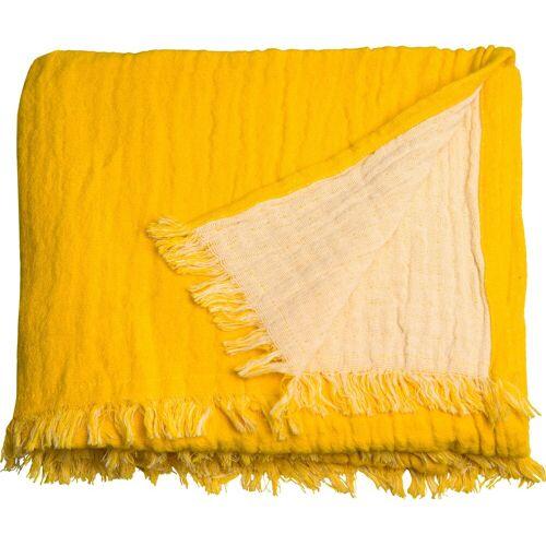 TOM TAILOR Plaid »Fringed Cotton«, , mit Fransen, gelb