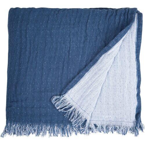 TOM TAILOR Plaid »Fringed Cotton«, , mit Fransen, blau