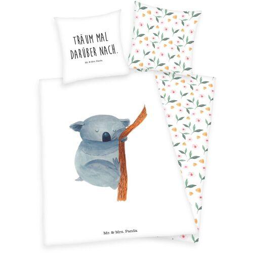 Wendebettwäsche »Mr. & Mrs. Panda«, mit Pandabär und Schriftzug, bunt