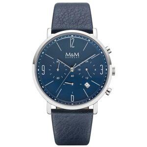 M&M Digitaluhr »Herrenuhr«, Edelstahl, poliert/Leder, blau/blau, Saphirglas