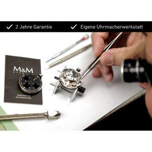 M&M Digitaluhr »Armbanduhr«, IP black, matt/Lederband, blau/schwarz/blau