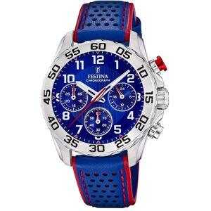 Festina Quarzuhr »UF20458/2 Kinder Uhr F20458/2 Analog Leder«, (Analoguhr), Kinder Armbanduhr rund, Lederarmband blau