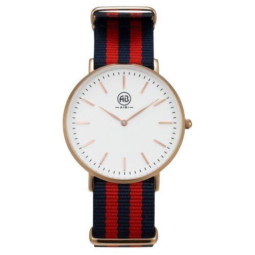 AIBI Armbanduhr, Roségold-Rot-Blau