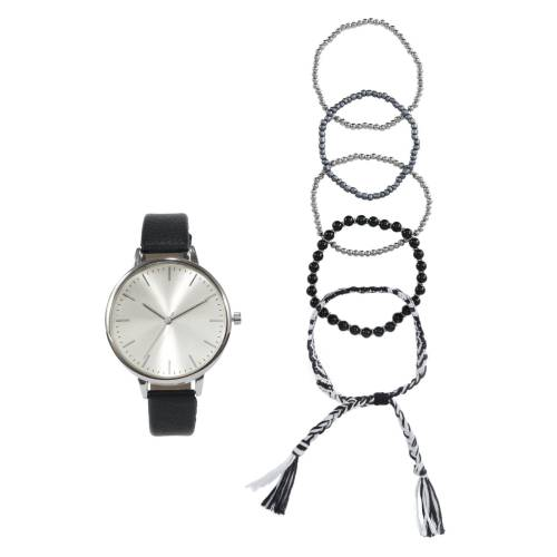 heine Armbanduhr mit modischen Armbändchen, schwarz
