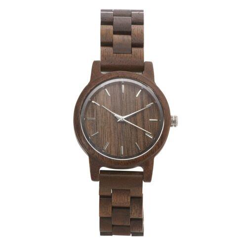 heine Armbanduhr in Holzoptik, dunkelbraun