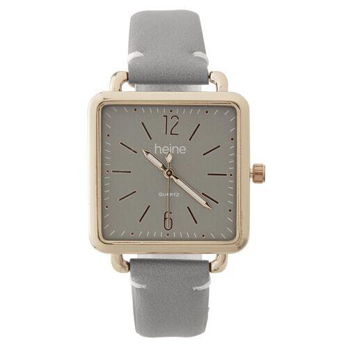 heine Armbanduhr in modischer Form, grau