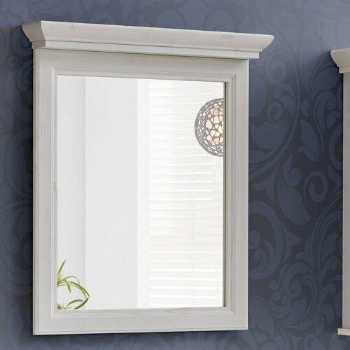 Lomadox Badspiegel »CELAYA-56«, Vintage Landhaus Badezimmer Spiegel 65 cm, Andersen Pine weiß, B x H x T ca. 65 x 76 x 11cm