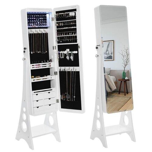 SONGMICS Schmuckschrank »JBC89WT« Spiegelschrank mit 8 LEDs, weiß