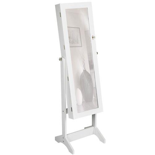 tectake Standspiegel »Schmuckschrank mit Spiegel, hochkant«, weiß