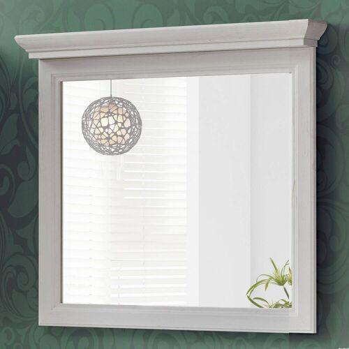 Lomadox Badspiegel »CELAYA-56«, Badezimmer Spiegel 85 cm im Vintage Landhaus Design, Andersen Pine weiß, B x H x T ca. 85 x 76 x 11cm