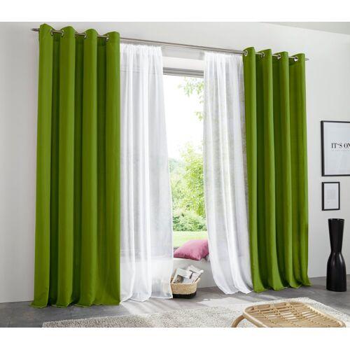 my home Vorhang »Raja«, , Ösen (2 Stück), Gardine, Fertiggardine, blickdicht, grün