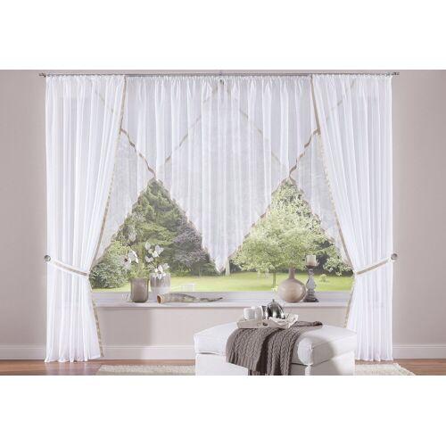 my home Gardine »Volano«, , Kräuselband (2 Stück), Vorhang, Fertiggardine, transparent, weiß