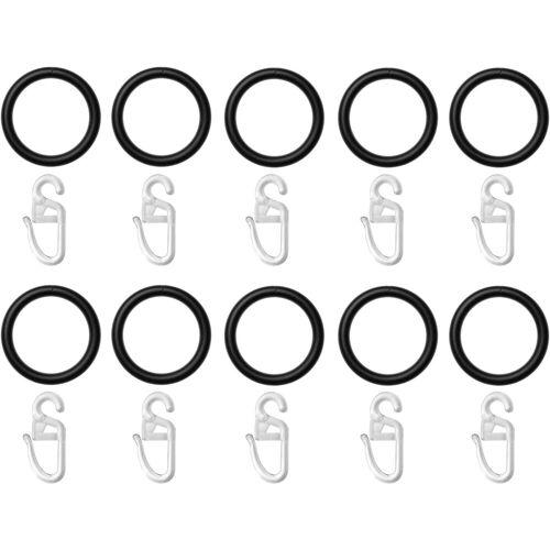LICHTBLICK Gardinenring, , Gardinenstangen, (Set, 10-St., mit Faltenlegehaken), für Gardinenstangen bis Ø 20 mm