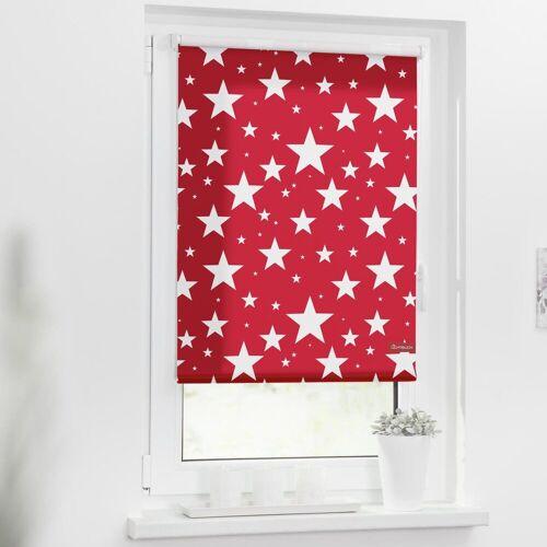 LICHTBLICK Seitenzugrollo »Rollo Klemmfix, ohne Bohren, blickdicht, Sterne«, , blickdicht, freihängend, rot
