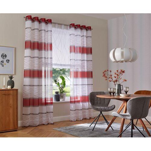 my home Gardine »Jay«, , Ösen (2 Stück), Vorhang, Fertiggardine, transparent, rot