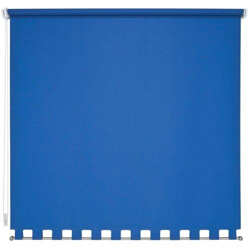 Liedeco Seitenzugrollo, , Lichtschutz, mit Bohren, Volantrollo - eckiger Volant, Fixmaß, blau