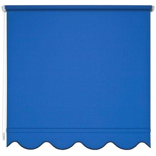 Liedeco Seitenzugrollo, , Lichtschutz, mit Bohren, Volantrollo - Volant Klassik, Fixmaß, blau