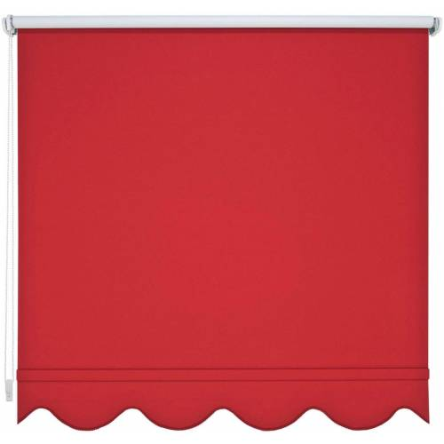 Liedeco Seitenzugrollo, , verdunkelnd, mit Bohren, Volantrollo - Volant Klassik, Fixmaß, rot
