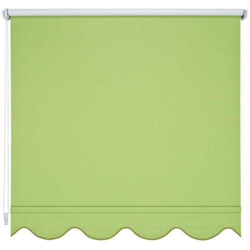 Liedeco Seitenzugrollo, , verdunkelnd, mit Bohren, Volantrollo - Volant Klassik, Fixmaß, grün