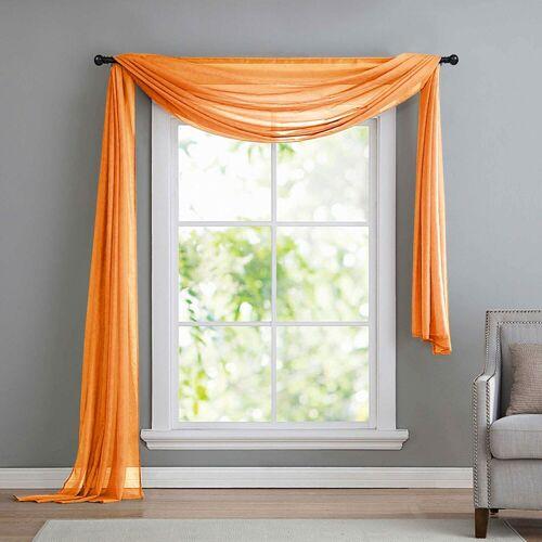 Gardinenbox Freihanddeko, , ohne (1 Stück), Querbehang Voile Transparent die ideale Ergänzung zu unseren Gardinen560, Orange