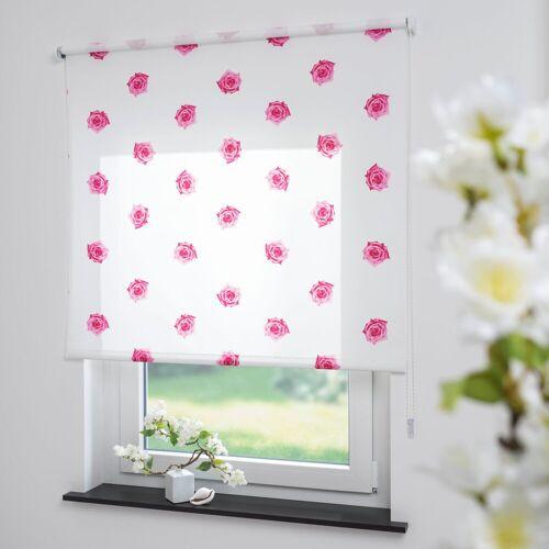 Liedeco Seitenzugrollo »Rosen«, , Lichtschutz, freihängend, Seitenzugrollo, Kettenzugrollo, Dekorrollo - Rosen pink
