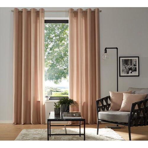 my home Vorhang »Luna«, , Ösen (2 Stück), Inkl. 2 Raffhaltern, sand
